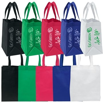 Non Woven Multi Color Economy Tote Bag 13'' X 15''
