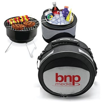 Promotional Polyester 2 In 1 Portable Case Cooler BBQ Grill Combo