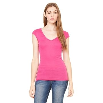 Bella Sheer Mini Rib Cap-Sleeve Deep V-Neck T-Shirt