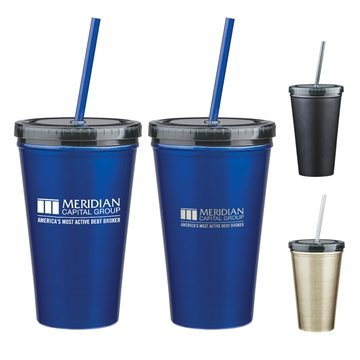 16 oz Stainless Steel Double Wall Tumbler With Straw