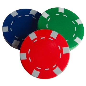 Promotional Casino Chip Squeezies Stress Reliever - Red, Blue or Green