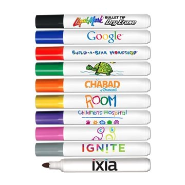 Promotional Bullet Tip Dry Erase Markers - Full Color Decal Print - USA Made