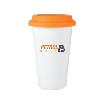 11 oz Terra - white with tangerine lid