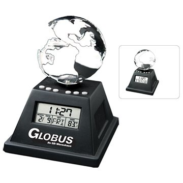 Promotional Solar Powered Moving Globe With Alarm Clock