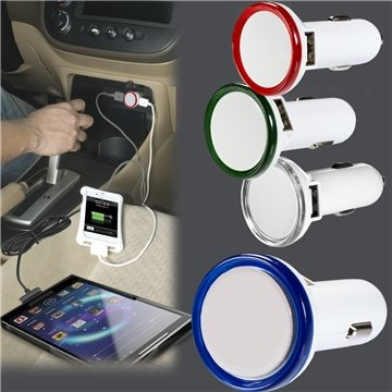 Round USB Car Charger With LED Light
