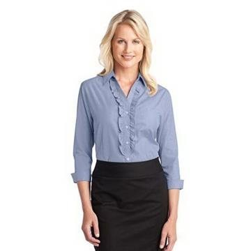 Promotional Port Authority Ladies Crosshatch Ruffle Easy Care Shirt