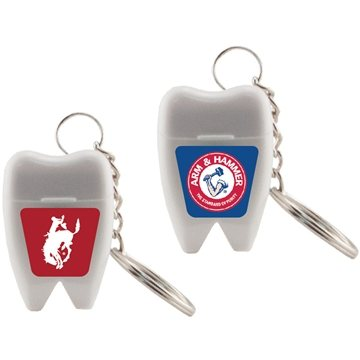Promotional tooth-shaped-dental-floss-keychain