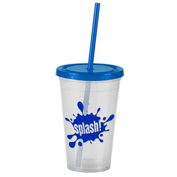 16 Oz Insulated Straw Double Walled Tumbler