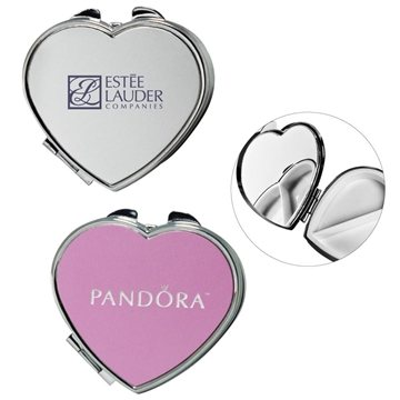 Promotional Heart Shape Metal Pill Box With Mirror