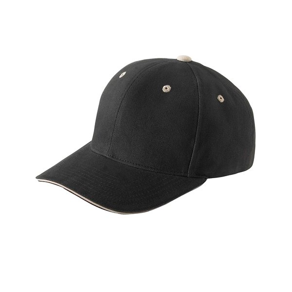 Promotional Yupoong Brushed Cotton Twill 6- Panel Mid - Profile Sandwich Cap