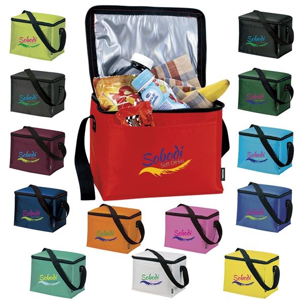 Promotional Polyester Multi Color Zippered KOOZIE Kooler 6 Packs