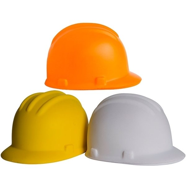 Promotional Hard Hat Squeezies Stress Reliever - White or Yellow