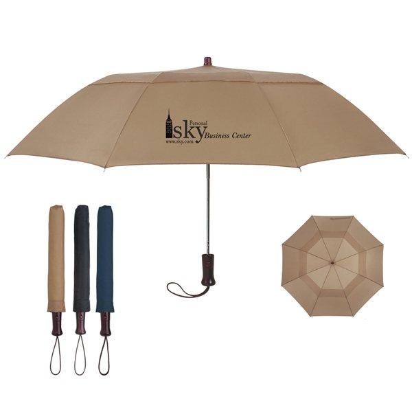 Promotional 44 Arc Telescopic Folding Wood Handle Umbrella