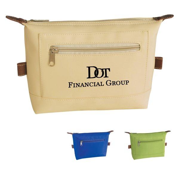 Promotional Microfiber Multi Color Zippin Cosmetic Bag 8 X 6.25