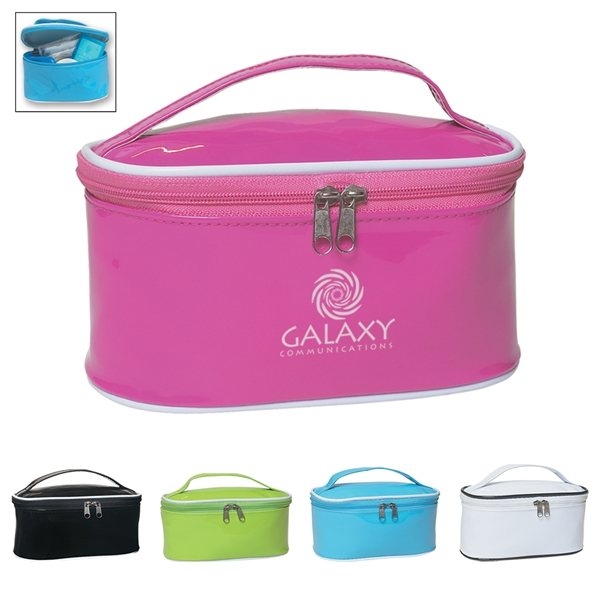 Promotional Patent Leather Multi Color Travel Cosmetic Bag 6.75 X 3.5