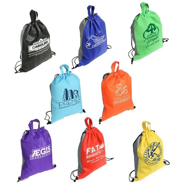 Promotional Non Woven Multi Color Glide Right Drawstring Bag 13 X 16