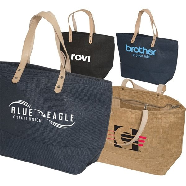 Promotional Fabric Multi Color Hamptons Jute Tote Bag 17.25X 10.5