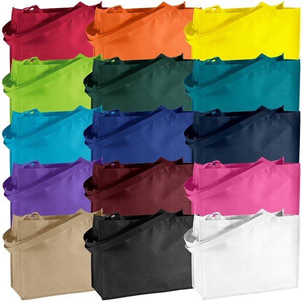Promotional Non Woven Color Vista Multi Color Celebration Franklin Tote Bag 16 X 12