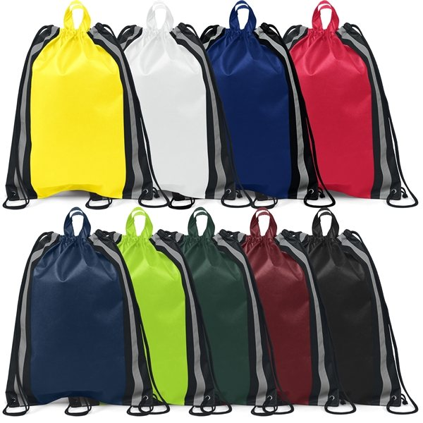Promotional Non Woven Screen Print Multi Color Magellan String Backpack 16 X 20