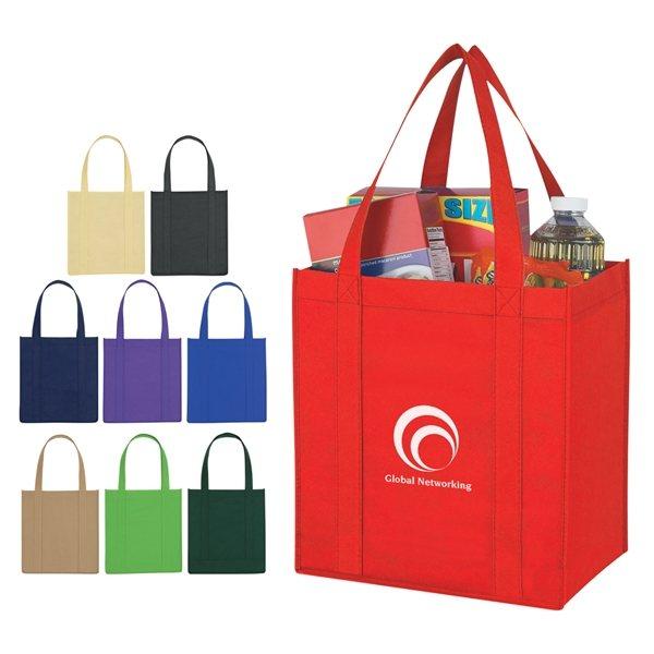 Promotional Non Woven Multi Color Reusable Avenue Shopper Tote Bag 12 X 13