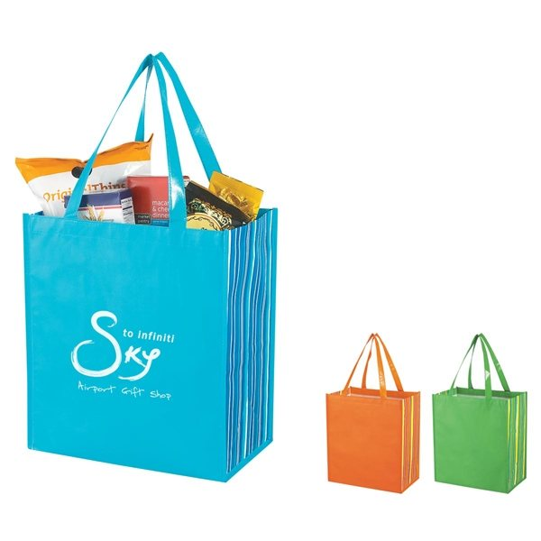 Promotional Shiny Laminated Non - Woven Tropic Shopper Tote Bag