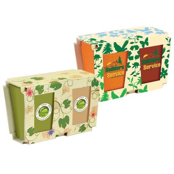 Promotional Promo Planter, 2- Pack Planter Set, Full Color Digital
