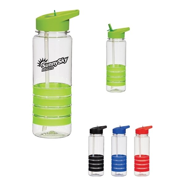 Promotional 24 oz Banded Gripper Bottle With Straw