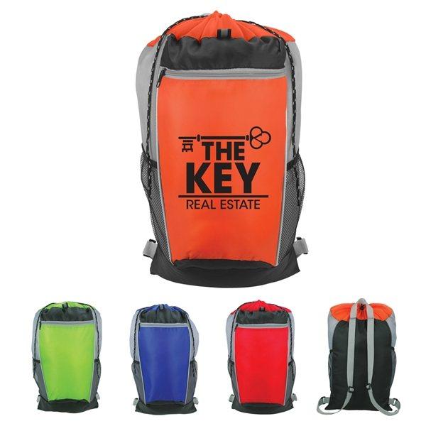 Promotional Tri - Color Drawstring Backpack