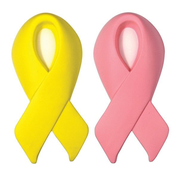 Promotional Awareness Award Ribbon Squeezie - Pink or Yellow - Stress reliever