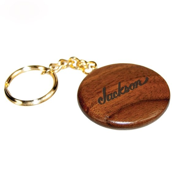 Promotional Round Wooden Keytag - Rosewood