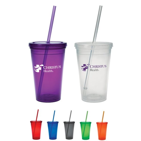 Promotional 16 Oz Economy Double - Wall Polypropylene Tumbler In Multiple Colors