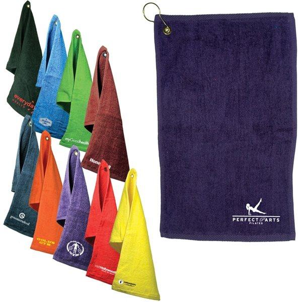 Promotional Fingertip Towel With Grommet Dark Colors