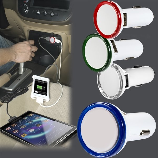 Promotional Round USB Car Charger With LED Light