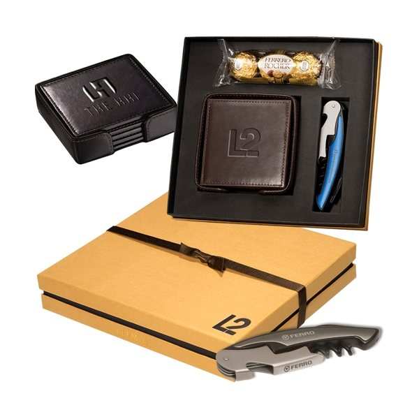 Promotional Ferrero Rocher(R) Chocolates, Coasters Corkscrew Gift Set
