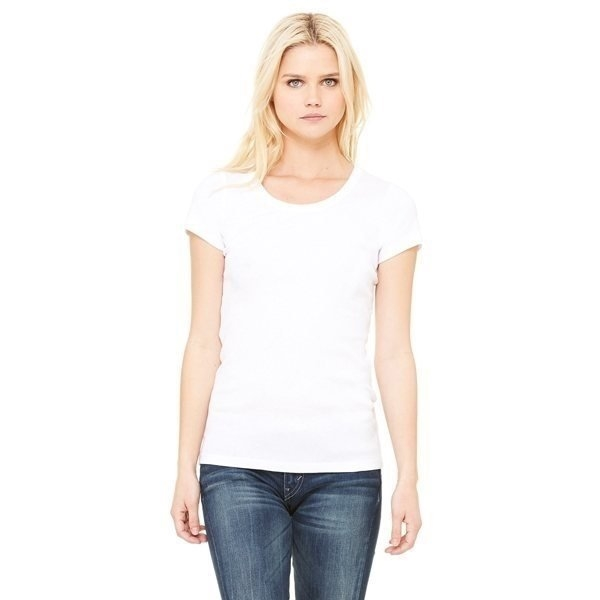 Promotional Bella + Canvas Ladies Stretch Rib Short - Sleeve Scoop Neck T - Shirt