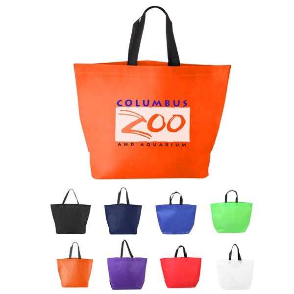 Promotional Two Tone Heat Sealed Nonwoven Shopper Tote