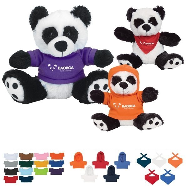 Promotional 6 Plush Big Paw Panda With Shirt