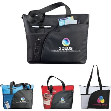 Promotional PolyCanvas Multi Color Excel Sport Utility Business Tote Bag 18 X 14