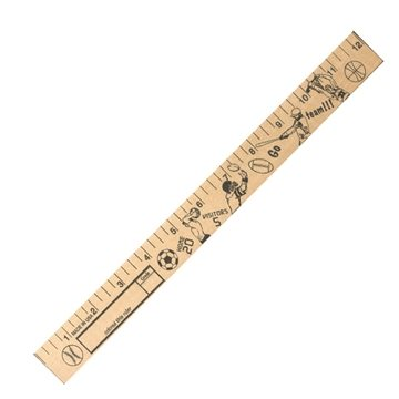 Promotional sports-u-color-rulers-natural-wood-finish