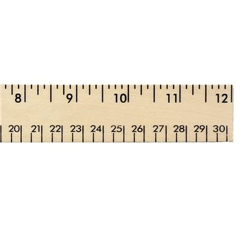 Promotional 12 Clear Lacquer Wood Ruler - English Metric Scale