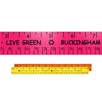 Promotional 12 Fluorescent Wood Ruler - English Metric Scale