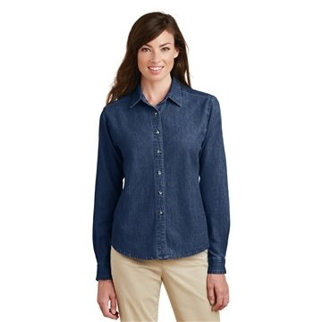 Promotional Port Company Ladies Long Sleeve Value Denim Shirt