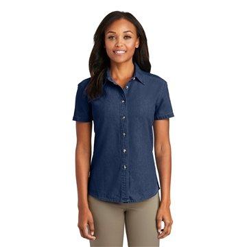 Promotional Port Company Ladies Short Sleeve Value Denim Shirt