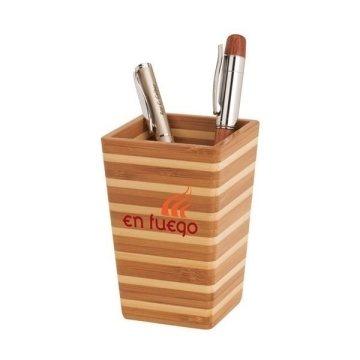 Promotional Zen - Bamboo Stripe Pen Holder