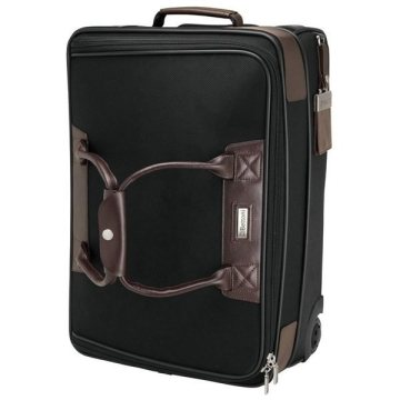 Promotional Terni - Brown Leather / Black Twill Nylon Trolley Bag