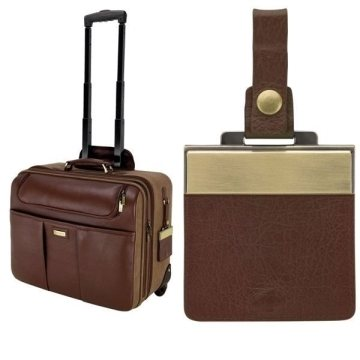 Promotional Palermo - Brown Napa Leather / Canvas Trolley Case