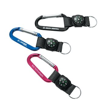 Promotional 70mm Carabiner with Compass, Web Strap and Split Ring