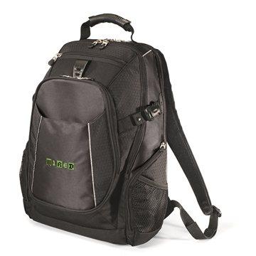 Promotional Polyester Vertex Black Zippin Backpack 15. 4 Laptop