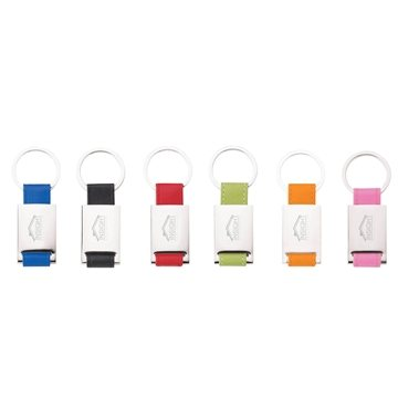 Promotional Colorplay Leather Key Ring