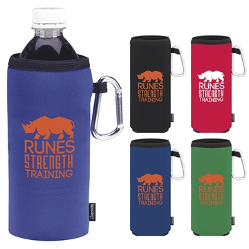 Promotional Collapsible Koozie Bottle Kooler With Carabiner